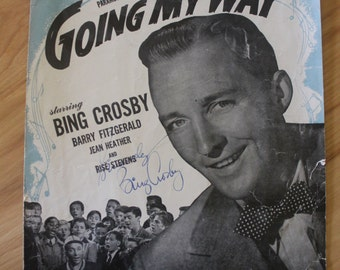 AUTOGRAPHED Bing Crosby Sheet Music to Swinging on a Star Going My Way 1944 Movie
