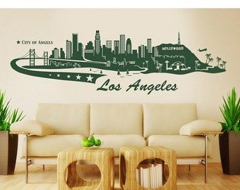 Summer Sale - 20% OFF Los Angeles Skyline wall decal, sticker, mural, vinyl wall art