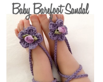 Crochet Baby Barefoot Sandals, Baby Shoes,Baby Sandals, Crochet Purple Ribbon Flower Barefoot Sandal