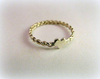 heart ring with braided, wicker ring