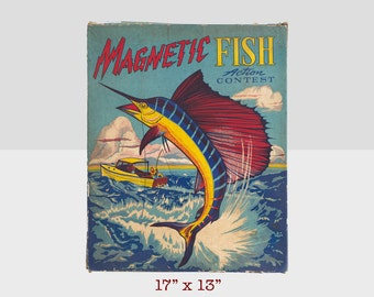 magnetic fish game, transogram company game, vintage magnetic fish game, vintage game, fishing game, magnetic fish pond game, antique game