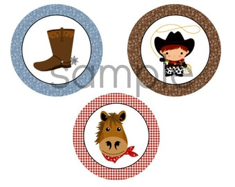 "INSTANT WESTERN THEME Cowboy Cupcake Toppers Cupcake Topper  2"" Circles Printable File Party Decor"