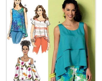 Butterick Pattern B6355 Misses' Double-Layer, Cold-Shoulder or Notch-Neck Tops