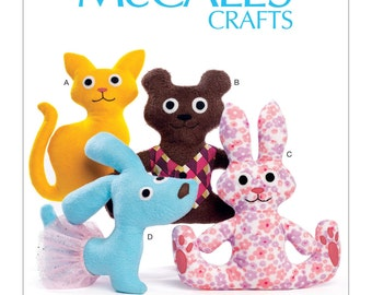 McCall's Pattern   M7451 Cat, Bear, Rabbit and Dog Stuffed Animals