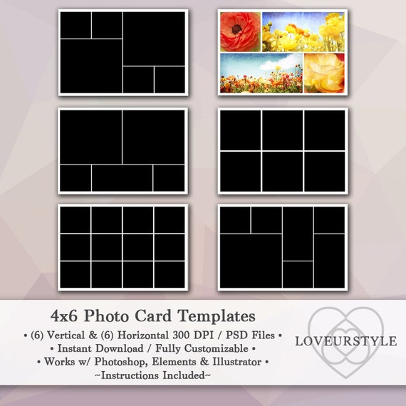 4x6 photo template pack 12 photo card templates photo collage photoshop templates personal. Black Bedroom Furniture Sets. Home Design Ideas
