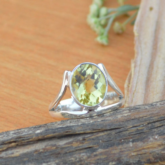 Oval Cut Lemon Topaz Gemstone Ring, Lemon Ring, Solid 925 Sterling Silver Ring, Birthstone Ring, Classic Gift Ring Size 6.75