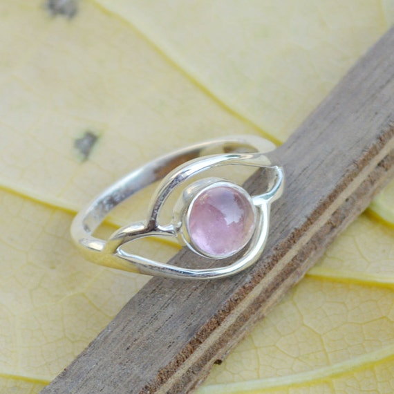 Natural Pink Tourmaline Gemstone Ring, 925 Sterling Silver Ring Jewelry, Bezel Set Designer Ring, Unique Gift Jewelry Ring Size 10