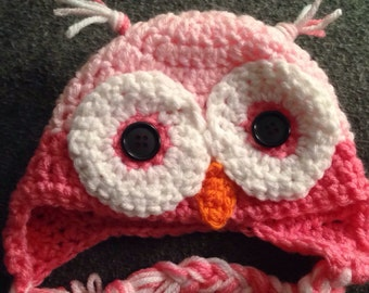 Newborn pink crochet owl hat
