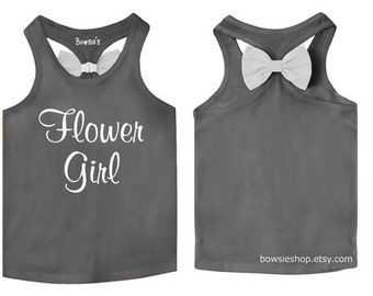 Flower Girl Bow Tank Top for Infants Toddlers and Girls