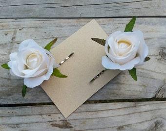 IVORY ROSE Hair Clip 2-Pack Mini Rose Bud Silk Bridal Hair Pin Accessory