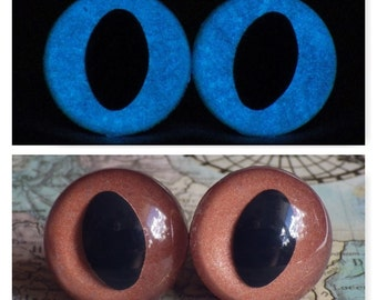 18mm Glow In The Dark Cat Eyes, Metallic Brown Safety Eyes With Blue Glow, 1 Pair Of Glow In The Dark Safety Eyes