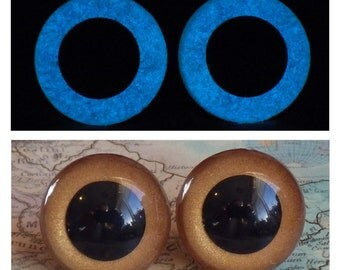 18mm Glow In The Dark Eyes, Metallic Golden Brown Safety Eyes With Blue Glow, 1 Pair Of Glow In The Dark Safety Eyes, Gold Eyes, Brown Eyes