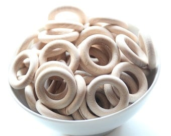 WHOLESALE Unfinished Beech wooden ring 3.4 cm / Natural Beech wood / BABY Teething ring