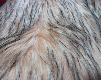 Luxury Super Soft Peach with white and black flecks 70mm pile Faux Fur