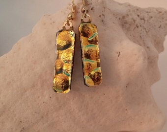 Gold Dichroic Dangle Earrings, Dichroic Fused Glass Earrings, Dichroic Earrings, Glass Earrings, Fused Glass Earrings – DE0032