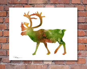Caribou Art Print - Abstract Wildlife Watercolor Painting - Wall Decor