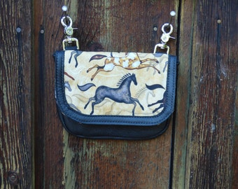 Leather and fabric purse