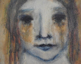 Original acrylic painting, figurative, outsider art, primitive art, folk art, face, girl.
