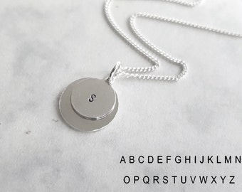 Two Discs Necklace, Hand Stamped Necklace, 925 Sterling Silver Initial Charm, Personalized Jewelry, Letter Handcrafted Charm, Atigga