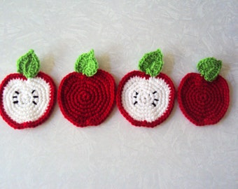 Apple Coasters - Crochet Coasters - Set of 4 - Crochet Apple Coasters - Teacher's Gift - Coffee Coasters