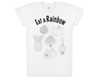 Eat a Rainbow children's t-shirt. Children's tee. Graphic tee. Kid's t-shirt. White t-shirt. Black Print. Hand drawn design. Educational. Nu