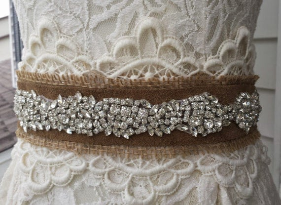 Jeweled Lace and Burlap Wedding Sash Leather Wedding Dress