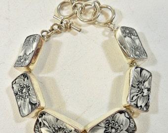 JSVR Jacqueline Smiley Vintage Revival China Black & White Transferware Bracelet