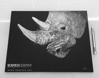 "14"" X 11"" Scratchboard Rhinoceros"