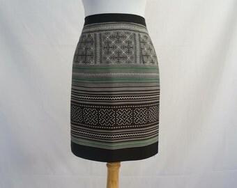 Hmong Print Skirt in Black/Green