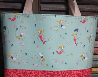 Mermaid Diaper Bag or Toddler Bag with 2 or 4 Pockets.