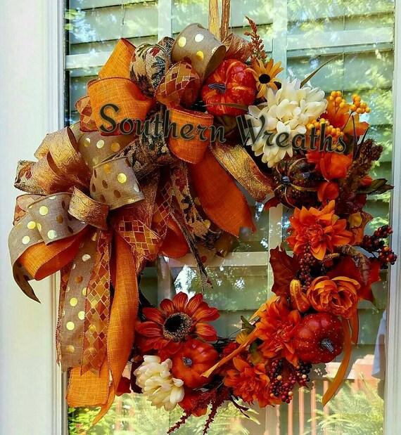 Fall Doorways: Fall Grapevine WreathSunflower Wreath Fall Pumpkin Door