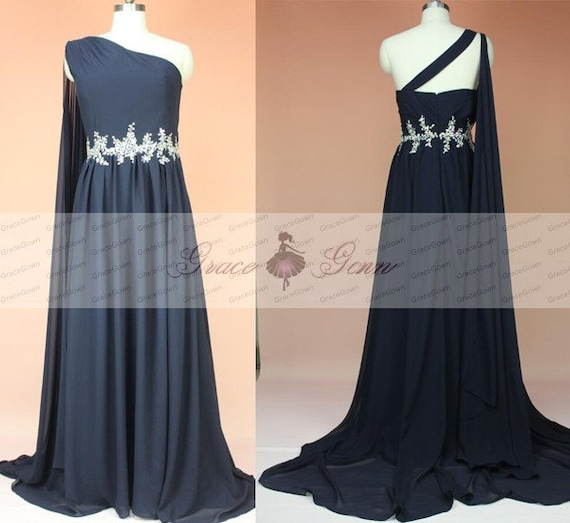 Unique One Shoulder Navy Blue Bridesmaid Dress Long By