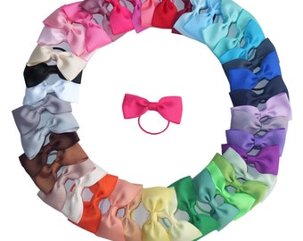 10-40 pcs,3 Inch HairBow WITH Elastic Loop,Ponytail bows,Pony Tail Holder,Hair Rope with bow,Baby/Toddler hair bow,Mini bows, U Pick Colors