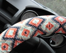 Aztec Coral, black, gray, teal, and white Steering Wheel Cover, wheel cover