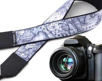 North America Camera Strap. Europe map camera strap. Padded camera strap DSLR. Shoulder strap by InTePro
