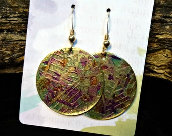 Handcrafted Etched Brass Earrings #70334