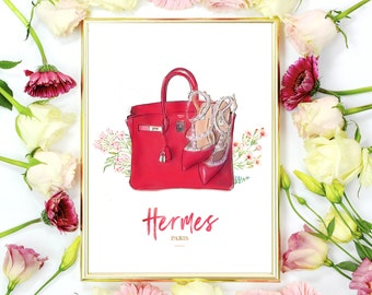 HERMES Birkin Bag, Valentino Shoes Watercolor Artwork. Modern high fashion wall art. Stunning Home Décor.