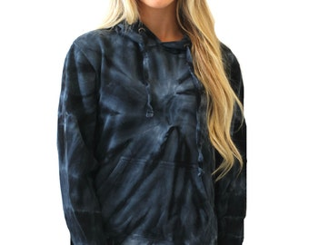 Super soft FALL Black tie dye hoodie sweatshirt - perfect for fall winter and christmas