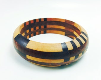Vintage Wood Bangle Bracelet, Wooden Bracelet