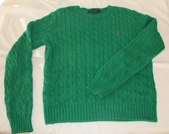 Ralph Lauren Green Cable Knit Sweater size 12