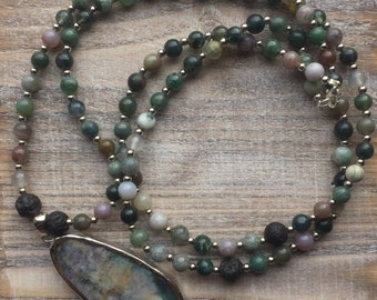 Fancy Jasper + pendant necklace.