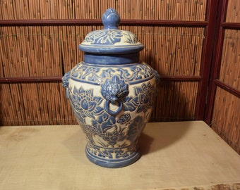 Vintage Vietnamese Ceramic Temple Jar Lotus Blue and Cream