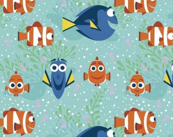 Dory All Smiles, Finding Dory Cotton Woven on Aqua by Springs Creative