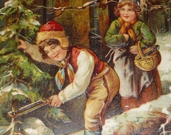 on sale Little Boy and Girl Cutting Down Christmas Tree in the Woods PFB Antique Christmas Postcard