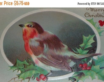 on sale Robin Sitting on a Holly Branch Antique Christmas Postcard