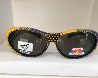 Purple Bumblebee Polarized, Fitover Sunglasses they fit over your glasses