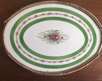 Victorian Porcelain Painted Floral Vanity Tray Wicker Wrap