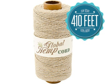 Global Hemp Natural Polished Hemp Cord - 1 mm - 410 Feet