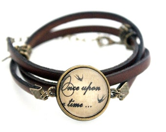 """Leather strap Brown 3 rounds with cabochon """"once upon a time"""" brass vintage"""