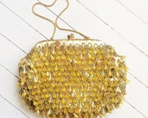 Gold fringe/dangly beaded 1960's evening bag.
